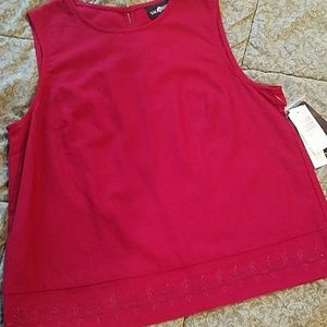 NWT Sag Harbor  L embroidered top